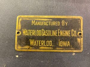 Waterloo Gasoline Engine Co. identification plate