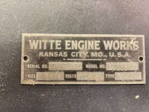 Witte Engine Works generator serial plate