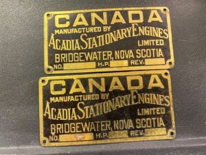 Acadia Stationary Engines serial plates