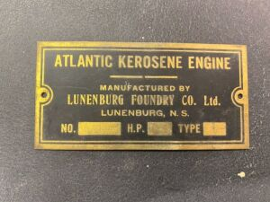 Lunenburg Foundry Co. Ltd. kerosene engine serial plate