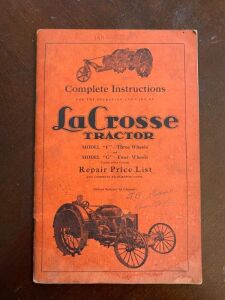 LaCrosse Tractor Model F & G Repair price list