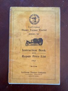 1917 LaCrosse Happy Farmer model B tractor instruction and repair price list book