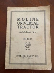 Moline Universal tractor model D list of repair parts manual