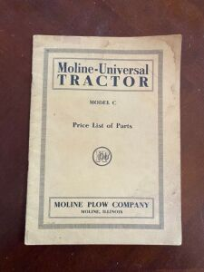 Moline Universal model C tractor Price list of Parts manual