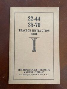 Minneapolis Moline 22-44 and 35-70 tractor instruction book