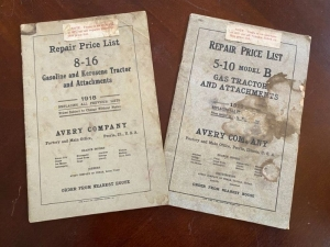Pair of Avery manuals consisting of the 8-13 and 5-10 Gasoline and Kerosene tractors