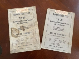 Pair of 1919 Avery tractor repair price list manuals