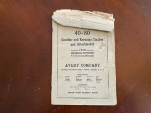 1919 Avery 40-80 tractor repair price list manual