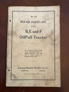 Advance-Rumely model B, E, and F repair parts list manual