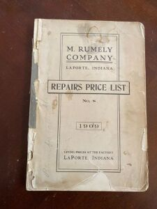 1909 M. Rumely Repairs price list No. 8