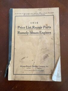 1916 Rumely steam engines repair parts price list