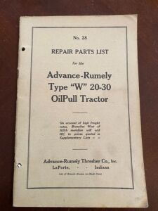 "Advane-Rumely Type ""W"" 20-30 tractor repair parts list"