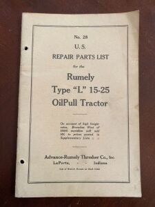 "Rumely Type ""L"" 15-25 tractor repair parts list"
