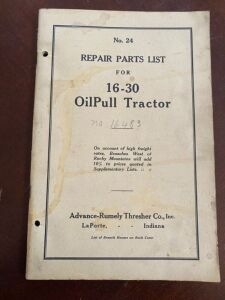 Advance-Rumely model 16-30 Repair parts list manual