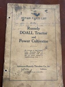 Advance-Rumely DOALL Tractor repair parts list