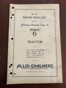 "Advance-Rumely Type ""A"" Rumely 6 repair price list"