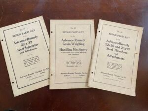 Trio of Advance-Rumely repair parts list manuals