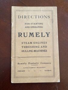 Rumely directions for starting and operating steam engine, threshing and hulling machines