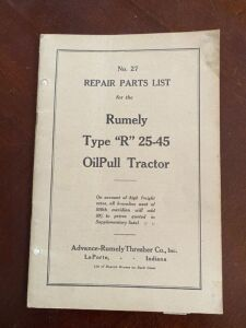 "Rumely Type ""R"" 25-45 tractor repair parts list"