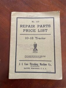 Case 10-18 Repair parts price list manual