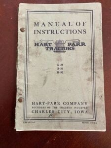 Hart Parr manual of instructions for models 12-24, 18-36, 28-50
