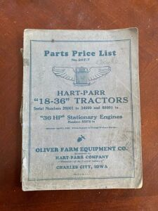 1929 Hart Parr Parts price list for model 18-36 tractor and 36 HP. stationary engine