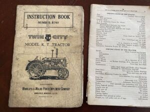 Twin City Model KT tractor instruction manual and Fordson tractor owner's manual
