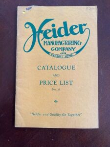 Heider Manufacturing Company Catalog and Price List