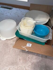 Box of plastic storage containers