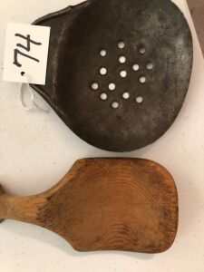 Wooden butter paddle and strainer