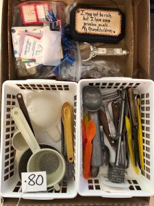 Flat of kitchen utensils