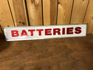 Batteries and Brake Service curb sign