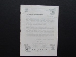 Minneapolis Threshing Machine Co. Sales Literature