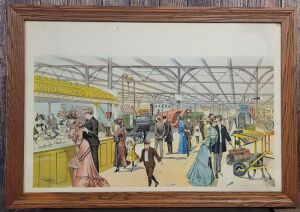 Huge exhibition/fair scene framed early lithograph