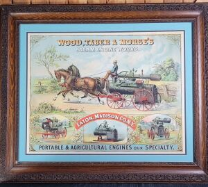 Wood, Taber, & Morse's Steam Engine Works framed lithograph