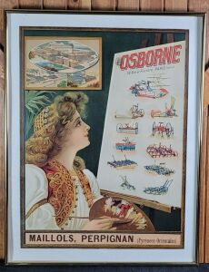 D.M. Osborne framed French lithograph print