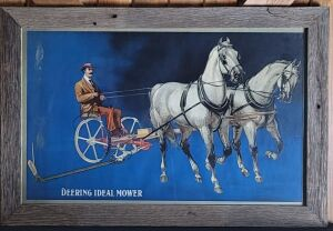 Deering Ideal Mower framed lithograph print