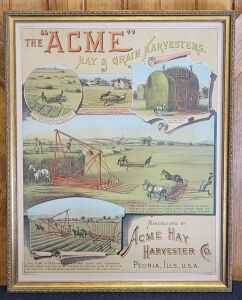 The Acme Hay and Grain Harvesters framed lithograph print