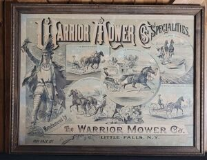 The Warrior Mower Company framed lithograph print