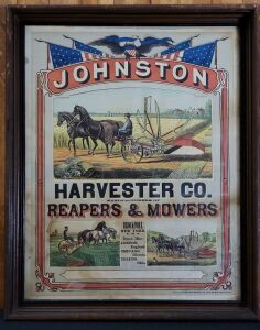 Johnston Harvester Co. Reapers & Mowers framed lithograph print