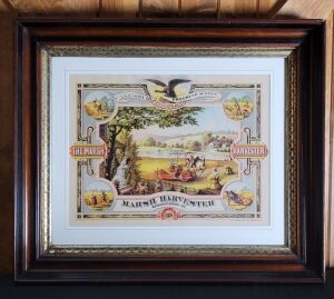 Marsh Harvester Manufacturing Company Sycamore, Ill. framed lithograph print