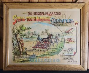 The Original Kalamazoo Spring-Tooth Harrows, Cultivators, & Broad Cast Seeders framed lithograph print