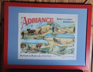 Adriance Agricultural Machinery framed French lithograph print