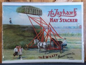 "The ""Jayhawk"" Hay Stacker lithograph print"