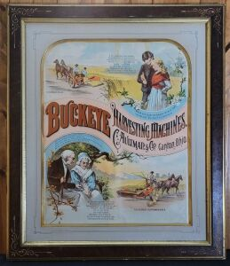 Buckeye Harvesting Machines framed lithograph print