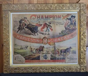Champion Harvesting Machinery framed lithograph print