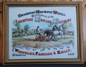 Champion Machine Works framed lithograph print
