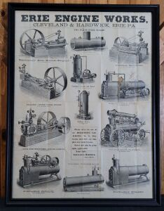 Erie Engine Works framed lithograph print
