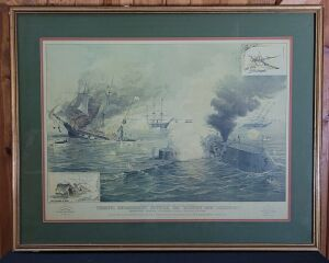 "McCormick ""First Encounter of the Iron-Clads"" framed lithograph print"