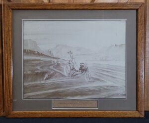 Deering Automobile Mower in Operation-1900 framed lithograph print